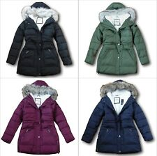 NWT Hollister by Abercrombie&Fitch Sherpa-Lined Quilted Parka Fur Jacket Coat