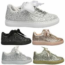 Guliana Womens Flats Low Heels Lace Up Glitter Trainers Ladies Pumps Shoes Size
