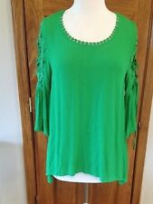 New Boutique Umgee Green Top with Lace and Tie Detail Sleeves
