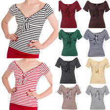 50's Women Casual Slim Striped Pin-up Top Retro Vintage Top T-Shirt Short Sleeve