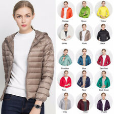 Womens Ultra Light Duck Down Puffer Jacket Slim Short Parka Hooded Coat Packable