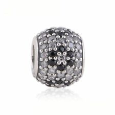 authentic Sterling Silver Bead Sparkling CZ Flowers European Charm DIY Jewelry