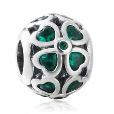 authentic Sterling Silver Hollow & green CZ Charms European Bead Fit Bracelet