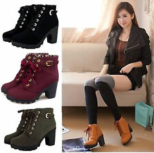 Hot Women High Heel Lace Up Buckle Ankle Boots Casual Zipper Platform Shoes Size