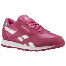 Reebok Classic CN1263 Pink White Youth Nylon Suede Retro Laced Sneakers Trainers
