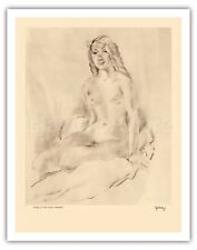 Study of Nude Etchings and Drawings of Hawaiians Kelly 1940s Fine Art Print