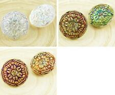 1pc Carved Flower Round Handmade Czech Glass Buttons Size 10 23mm