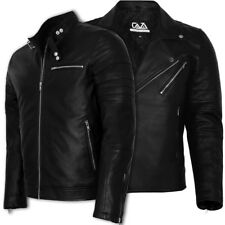 MENS BLACK REAL LEATHER JACKET SLIM FIT BIKER NEW MOTORCYCLE JACKET VINTAGE