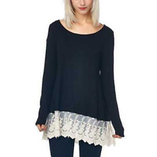 Women's Lady Loose Lace Crewneck Long Sleeve Top Blouse Jumper Pullover T-shirt