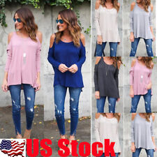 Womens Long Sleeve Blouse Loose Casual Cold Shoulder Tops T Shirt  Pollover S-XL