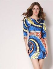 Women Fashion Vintage Printed Pinup Casual Party Bodycon Dress PN673