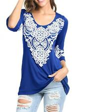 Women's Spring 3/4 Sleeve Boho Casual Round Nick Tunic Shirts Heart Printed Tops