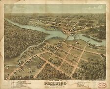 Poster Print Antique American Cities Towns States Map Peshtico Wisconsin