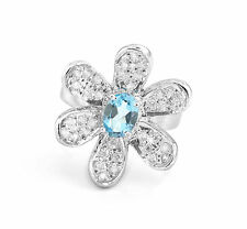 925 Sterling Silver Flower Shape Ring with Natural Blue Topaz Gemstone Handmade.