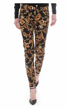JUICY COUTURE Womens Soft Skinny Baroque Cheetah Pants Black Gold