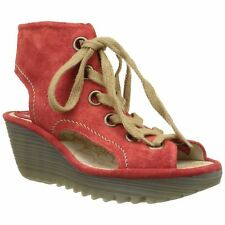 Fly London Yaba 702 Street Red Womens Open-toe Wedge Sandals Shoes