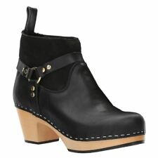 Hasbeens Rivet Boot Black Womens Leather Suede Mid Heel Ankle Boots