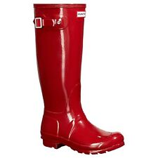 Hunter Original Tall Gloss Military Red Womens Rubber Wellington Knee-High Boots