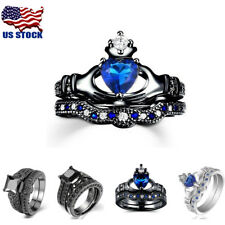 Fashion 18K White/Black Platinum Plated Cubic Zirconia Ring Sets Jewellery Gifts