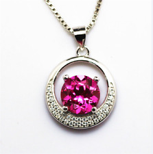Amazing Sterling Silver Created Rose Red Ruby Round Shaped Gems Necklace Pendant