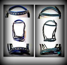 SUPER BLING Accented Browband Noseband Black English Bridle PONY Blue/ Teal NEW!
