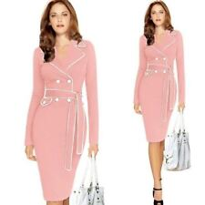 Women Autumn Winter Elegant Notched Collar Belted Button Dress