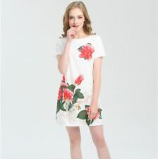 Floral Printed Summer Casual Short Sleeve O-neck Midi Dress For Women