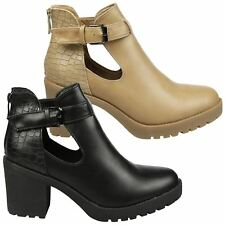 Madeleine Womens Mid Thick Block Heel Cut Out Ankle Boots Ladies Shoes Size New