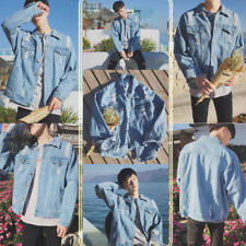 Mens Vintage Denim Coats Jean Jacket Button Outwear Outdoor Classic Casual Tops