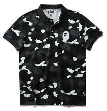 Mens Luminous Camouflage Casual Embroidery Short Sleeve Bape Polo Collar T-shirt