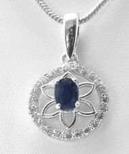 925 Sterling Silver Pendant with Blue Sapphire Natural Gemstone Oval Handmade