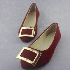 Women Red Color Summer New Fashion Flats Big Buckle Office Shoes Size 35-42