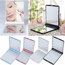 Best  LED Make Up Mirror Cosmetic Mirror Folding Portable Compact Pocket Gift NL