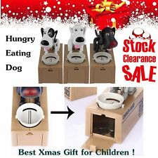 Puppy Hungry Eating Dog Coin Bank Money Saving Box Piggy Bank Kids Gifts TT