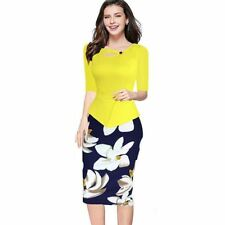 Yellow Color Plus Size Keyhole Neck Floral Print Bodycon Dress For Women