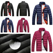 Mens Winter Jackets Padded Warm Slim Fit Plain Stand Collor Casual Coats Tops