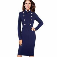 Women Autumn Wear Long Sleeve Stand Collar Double-Breasted Button Pencil Dress