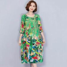 Floral Printed 3/4 Sleeves O Neck Green Color Knee Length Dress For Women