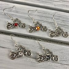 Motorcycle Costume Dangle Earrings made plain or with Swarovski Crystals Biker