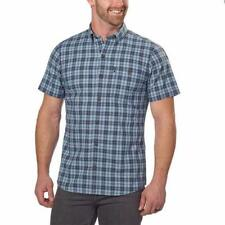 G.H. Bass & Co. Mens Shirt Blue Plaid Mood Indigo Woven Short Sleeve