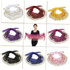 3 Rows 128 Gold Coins Belly Dance Costume Hip Scarf Skirt Belt Wrap Waist NEW UO