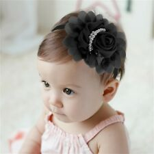 Color Cotton Flower Bead Beautiful Kid Child Infant Baby Hair Band Headwrap GT
