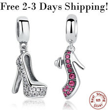 S925 Sterling Silver Charm Pink Clear Lady High Heel Shoe fit Bracelet Necklace