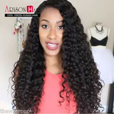 7A GlueLess Brazilian Lace Front Full Wigs Human Remy Hair 1B Deep Curly Wave