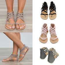Women Sandals Strappy Gladiator Thong T Strap Flat Casual Beach Ankle Shoes Size