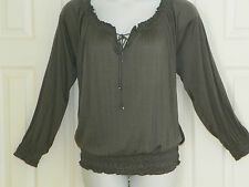 Faded Glory~NEW~Womans Plus Size Peasant Top  1X 16W~Gray~Smocked Hem~Tie Neck