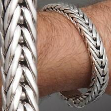 HEAVY BRAIDED HANDMADE TRIBAL 925 STERLING SILVER MENS BRACELET 8 8.5 9 10""