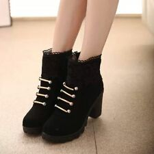 New Fashion PU Leather Round Toe Ankle High Heels Platform Shoes For Woman