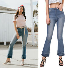 New Women's Fashion Washed Blue Denim Flare Jeans Pants Tassel Fringed Trousers