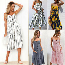 Womens Floral Sleeveless Boho Lady Summer Evening Party Mini Maxi Sundress Dress